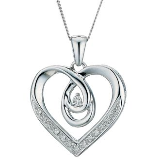 Love's Embrace 9ct white diamond set pendant - Product number 9277293