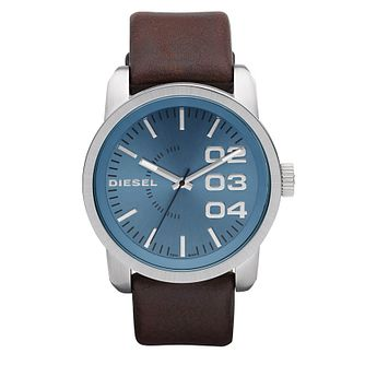 Diesel Mens Double Down Blue Dial Brown Leather Strap Watch - Product number 9286462