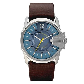 Diesel Mens Master Chief Blue Dial Brown Leather Strap Watch - Product number 9286535