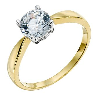 Silver & 18ct Gold Plated Ring Made With Swarovski Zirconia - Product number 9289291