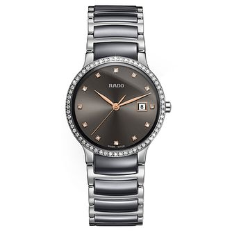 Rado Centrix Ladies' Grey Ceramic Diamond Watch - Product number 9299491