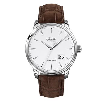 Glashutte Senator Excellence Men's White Leather Strap Watch - Product number 9300120