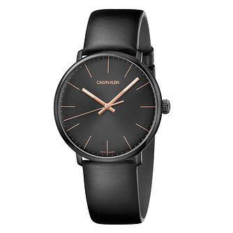 Calvin Klein Men's Black Dial Black Leather Strap Watch - Product number 9302158