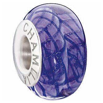 Chamilia purple glass glitter stripe bead - Product number 9305653