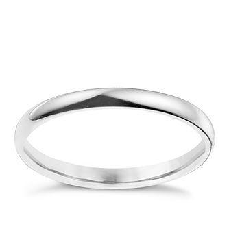 9ct white gold 2mm extra heavy D shape ring - Product number 9309160