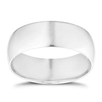 9ct white gold extra heavy D-shape 7mm ring - Product number 9309632
