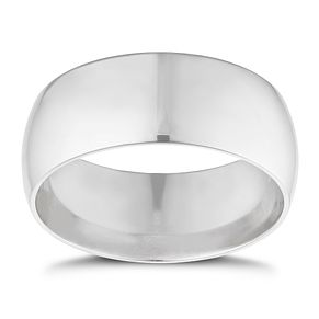 9ct white gold extra heavy D-shape 8mm ring - Product number 9309942