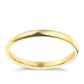 9ct yellow gold 2mm extra heavy D shape ring - Product number 9310614