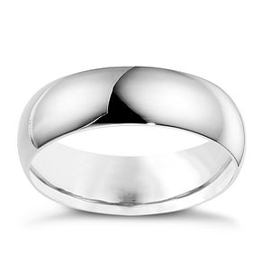 18ct white gold extra heavy D-shape 7mm ring - Product number 9321195