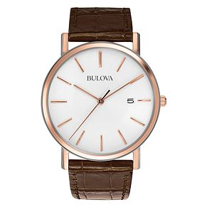 Bulova Men's Classic Brown Leather Rose Gold Bracelet Watch - Product number 9332979