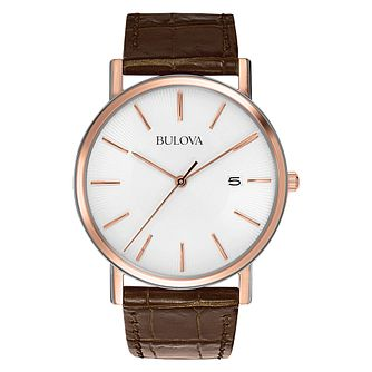 Bulova Men's Brown Leather Rose Gold Bracelet Watch - Product number 9332979