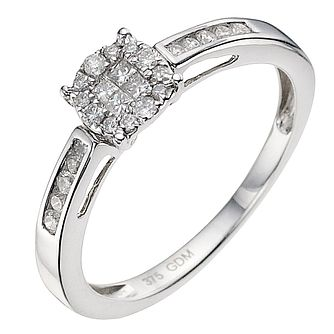 9ct white gold 1/4ct diamond cluster ring - Product number 9338284