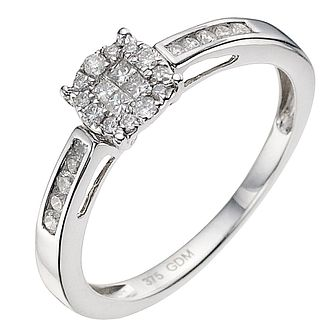 9ct white gold 1/2ct diamond cluster ring - Product number 9338411