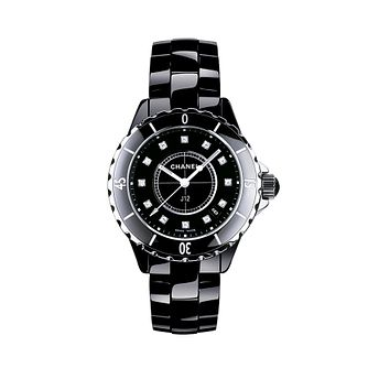 Chanel J12 black ceramic diamond set bracelet watch - Product number 9339620