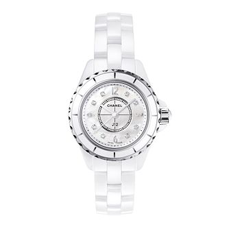 Chanel J12 white ceramic diamond set bracelet watch - Product number 9339663