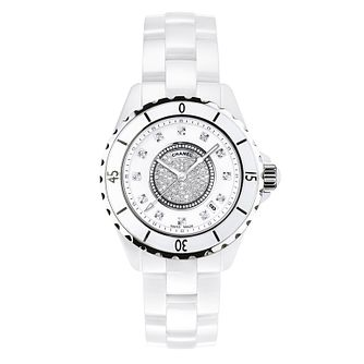 Chanel J12 white ceramic diamond set bracelet watch - Product number 9339736
