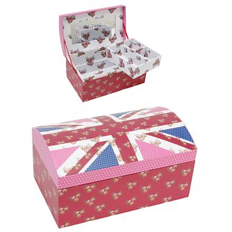 Pink & Floral Union Jack Jewellery Box - Product number 9350993