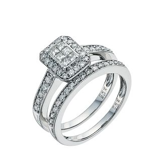 9ct White Gold 3/4ct Diamond Perfect Fit Bridal Set   Product Number 9351701