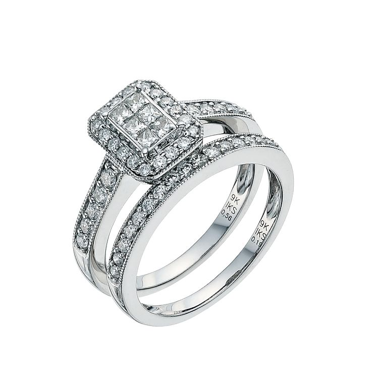 9ct White Gold 3/4ct Diamond Perfect Fit Bridal Set - Product number 9351701