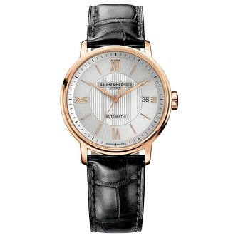 Baume & Mercier Geneve men's 18ct rose gold strap watch - Product number 9383018