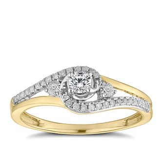 9ct Yellow Gold 1/5ct Diamond Solitaire Twist Ring - Product number 9387838