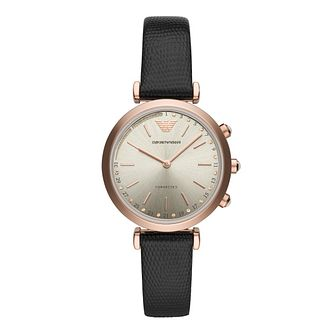 Emporio Armani Ladies' Rose Gold Plated Black Strap Watch - Product number 9390715