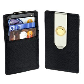 Jean Pierre black leather card holder & money clip - Product number 9390863