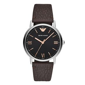 Emporio Armani Men's Brown Leather Strap Watch - Product number 9391134