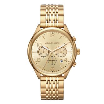 Michael Kors Merrick Men's Yellow Gold Plated Strap Watch - Product number 9393005