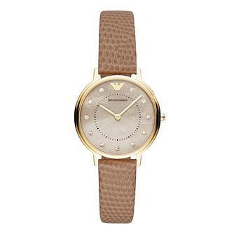 Emporio Armani Ladies' Yellow Gold Plated Kappa Taupe Watch - Product number 9393145