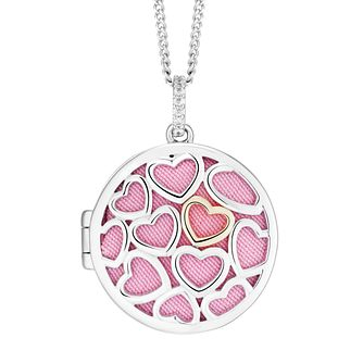 9ct Yellow Gold and Silver Heart Cubic Zirconia Locket - Product number 9393366