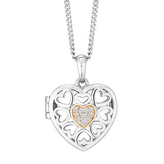 Silver and Cubic Zirconia Cut Out Heart Locket - Product number 9393382
