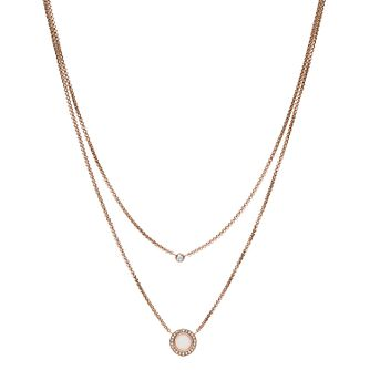 Fossil Double Glitz Rose Gold Tone Steel Necklace - Product number 9399372