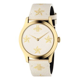 Gucci G-Timeless Garden White Leather Strap Watch - Product number 9399887