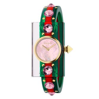 Gucci Vintage Web Ladies' Plexiglass Green & Red Stud Watch - Product number 9399933