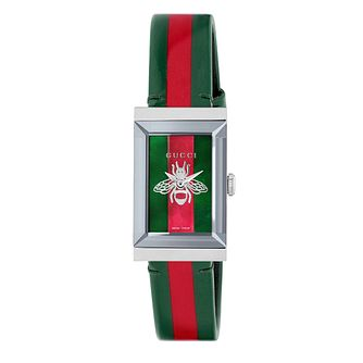 Gucci G-Frame Ladies' Green & Red Leather Strap Watch - Product number 9400028