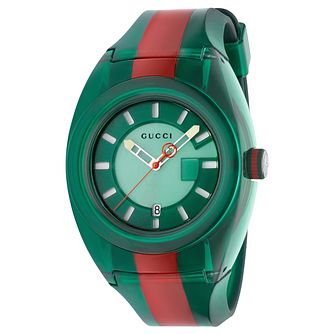 Gucci Sync Men's Green and Red Stripe Rubber Strap Watch - Product number 9400133