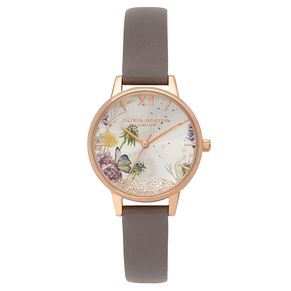 Olivia Burton Wishing Ladies' Grey Leather Strap Watch - Product number 9405682