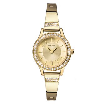 Sekonda Ladies' Stone Set Yellow Gold Tone Bracelet Watch - Product number 9407197