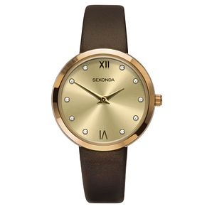 Sekonda Ladies' Champagne Dial Brown Leather Strap Watch - Product number 9407456