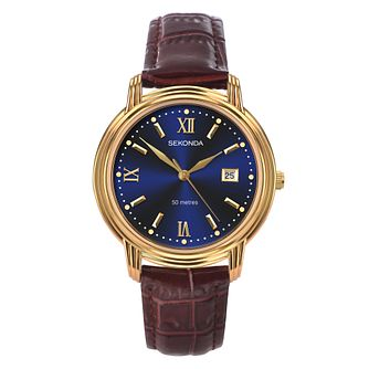 Sekonda Men's Brown Leather Strap Watch - Product number 9407502