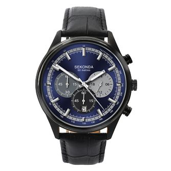 Sekonda Men's Blue Dial Black Leather Strap Watch - Product number 9407723