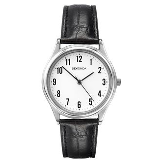 Sekonda Men's White Dial Black Leather Strap Watch - Product number 9407944