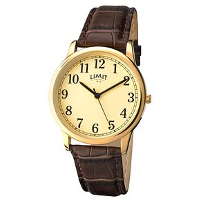 Limit Men's Yellow Gold Plate & Brown Crocodile Strap Watch - Product number 9408371