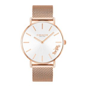 Coach Perry Ladies' Rose Gold Plated Mesh Bracelet Watch - Product number 9410155