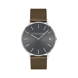 Coach Charles Men's Grey Brown Strap Watch - Product number 9410201