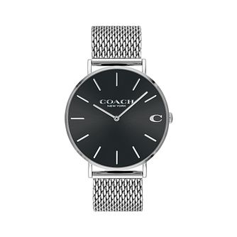 Coach Charles Men's Black Mesh Bracelet Watch - Product number 9410244