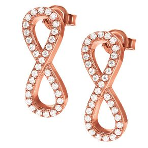 Folli Follie Infinity Ladies' Rose Gold Tone Stud Earrings - Product number 9415947