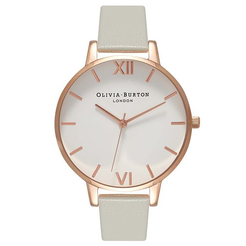 Olivia Burton Big Dial Ladies' Rose Gold Plated Grey Watch - Product number 9417931