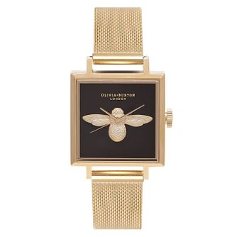 Olivia Burton 3D Bee Ladies' Yellow Gold Plated Square Watch - Product number 9418261